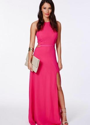 Шифоновое длинное платье в пол с вырезами по бокам от missguided, размер 10/38/м.