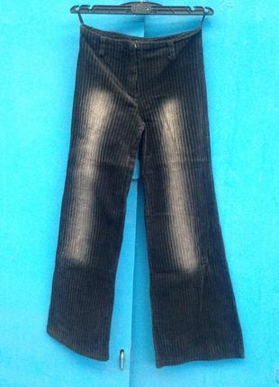 Черные штаны с потёртостями вельвет  клёш