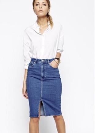 Джинсовая юбка с разрезом спереди denim co