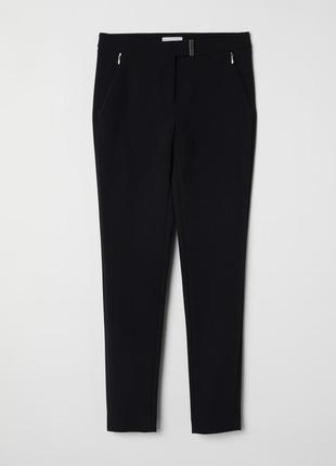 Черные узкие стрейчевые брюки h&m 36,40,костюмные черные брюки s,l