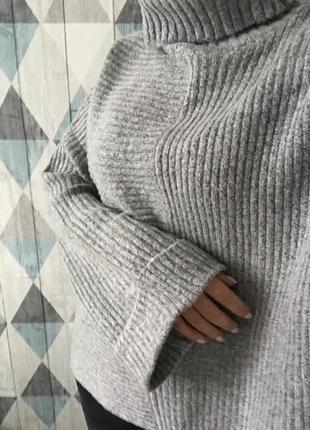 Стильный тёплый свитер серый размер s m