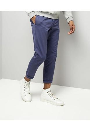 Стильные мужские брюки зауженные кроп, укороченные штаны чинос, скинни классические