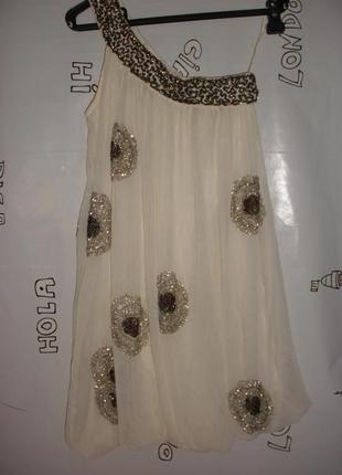 Нарядное мини платье asos расшитое стеклярусом и паетками для миниатюрной девушки