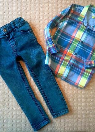 Стильный комплект джинсы next  и рубашка в клетку12-18 и дольше