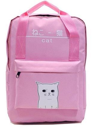 Рюкзак-сумка розовый с принтом кота котик формула однотонный унисекс вместительный