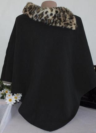 Брендовое черное пончо италия мех коттон