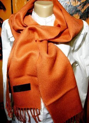Новый шерстяной оранжевый шарф 150х30