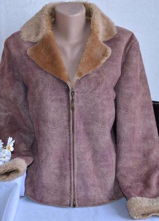 Брендовая дубленка на молнии с карманами per una мех акрил