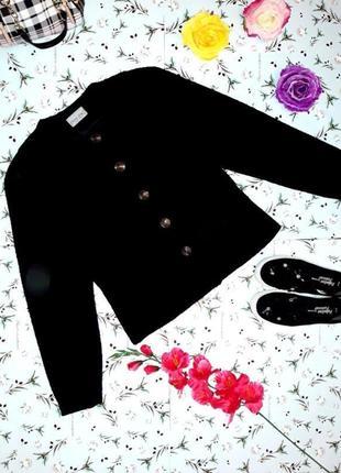 -50% на 2-ю единицу черное теплое короткое драповое пальто коко шанель, размер 44 - 46