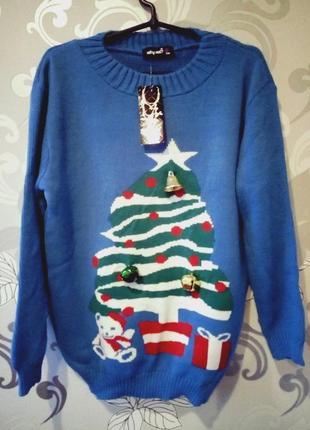 Голубой новогодний теплый свитер с колокольчиками звоночками, кофта