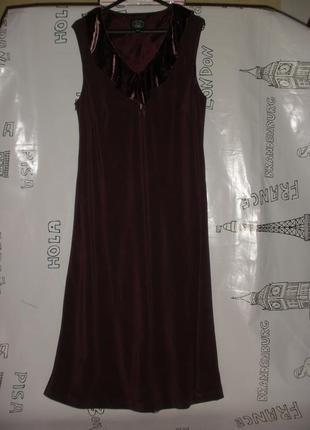 Элегантное длинное шелковое  вечернее платье laura ashley цвета марсала