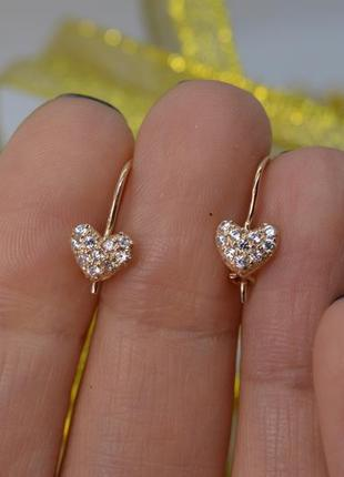 Золотые серьги #сердечки, #россыпь камней, #крючки, #585