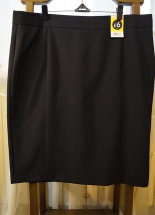 Офисная черная юбка из немнущейся ткани