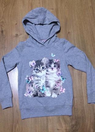 Кофточка с капюшоном с принтом котята