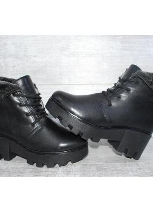 Ботинки женские зимние черные кожа viva 36 37 38 39р.