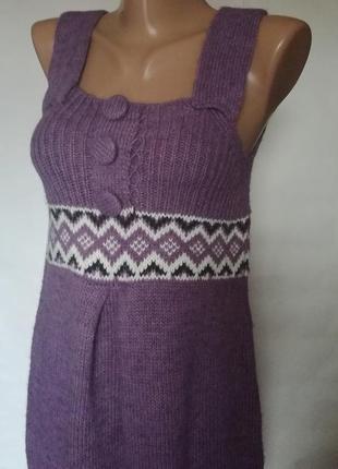 Вязаный шерстяной сарафан платье можно для беременной