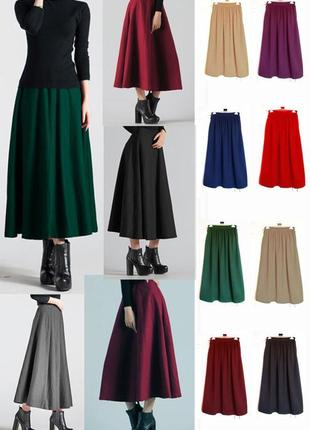 Акция!стильная юбка с карманами,теплая,10 цветов,джерси,xs-xxxl