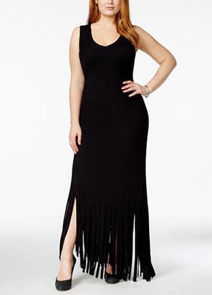 Эффектное макси платье батал с пикантной бахромой по низу 3х (usa) на 60-62 рр