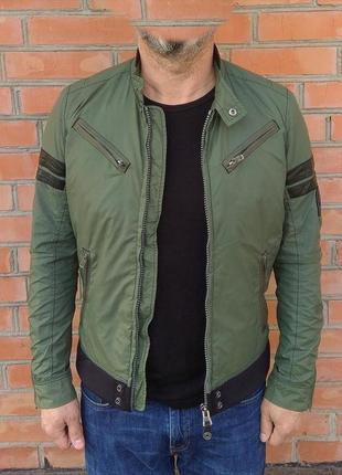 Diesel куртка ветровка с кожаными вставками оригинал (m) сост.идеал