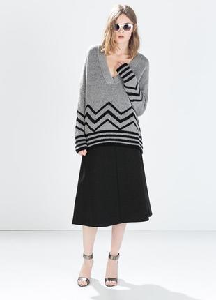 Крутая юбка от zara woman размер l, миди-трапеция