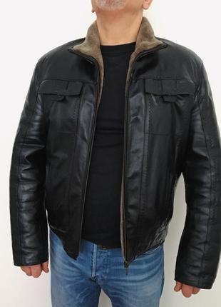 Зимняя куртка дубленка из натуральной кожи и натурального меха (мутон). новая