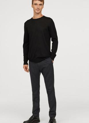 Серые шерстяные брюки slim fit
