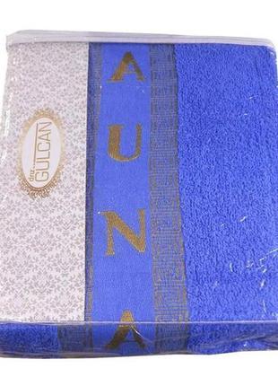 Набор для сауны мужской полотенце на липучке (2 предмета) синий 100% cotton турция