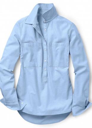 Хлопковая женская голубая рубашка. (eu 42, ru 48). тchibo.