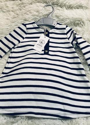 Платье белое в синюю полоску от известного французского бренда petit bateau!