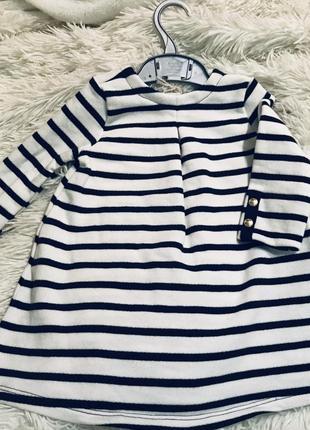 Платье белое в синюю полоску от известного французского бренда petit bateau!акция
