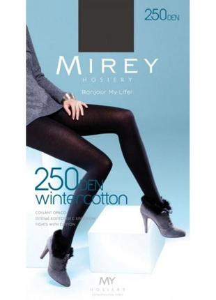 Wintercotton 250 den коттоновые теплые черные зимние колготки mirey