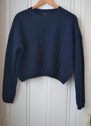 Укороченный свитер синий свитер теплый свитер