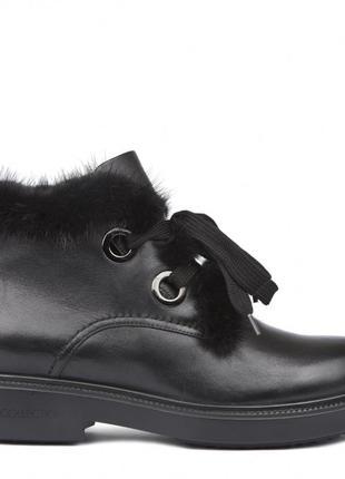 Шикарные стильные ботинки tj collection с опушкой из меха норки. р 36 бренд tj collection