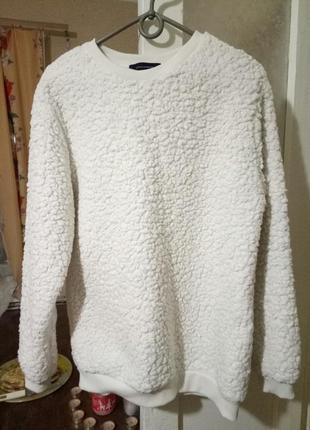 Мягкая теплая кофточка свитшот барашек atmosphere свитер белый