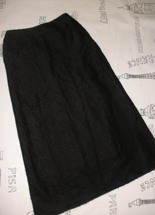 Теплая черная трикотажная юбка в пол m&s а-образного силуэта