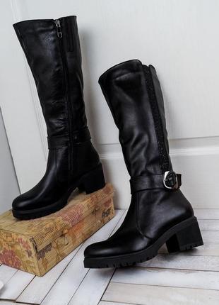 Модные элегантные кожаные зимние сапоги блестящая вставка ремешок с пряжкой 36-40