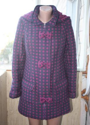 Эксклюзивное оригинальное милое пальто в горошек с бантиками осень-зима