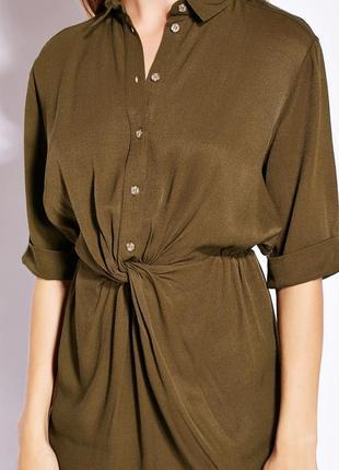 Платье скрученное блуза хаки topshop s винтаж
