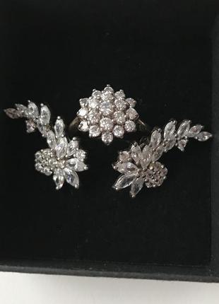Серьги и колечко комплект серебро 925 кубический цирконий