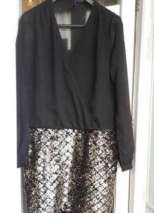 Вечернее нарядное короткое платье smash в пайетки перевертыши с рукавом шифоновое