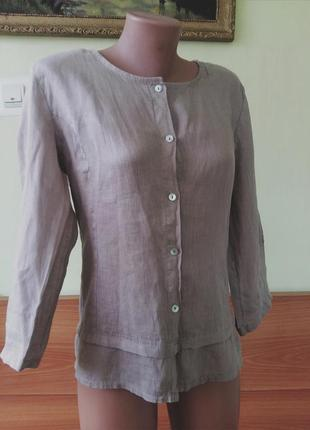 Натуральна льняная блуза,рубашка 100% лён