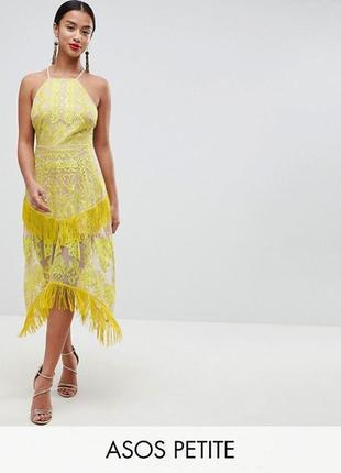 Платье с вышивкой и бахромой asos,р-р 14