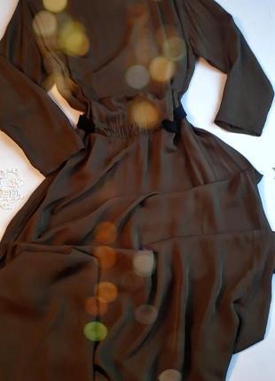 Платье в пол цвет хаки на резинке mango l