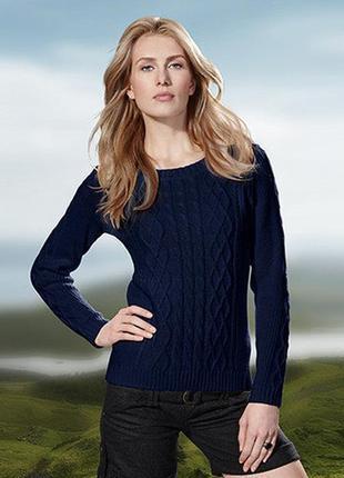 Комфортный вязаный темно-синий свитер джемпер tcm tchibo