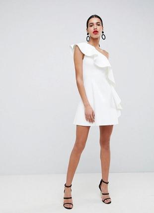 Неопреновое платье с оборкой asos, р-р 10