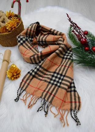 Шерстяной теплый фирменный шарф в клеточку беж кемел