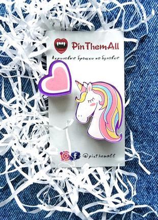Набор брошек #unicorn