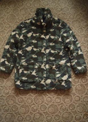 Куртка шуба h&m 46 милитари искусственный мех