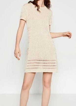 Вязаное платье, туника zara, s, цвет бежевый