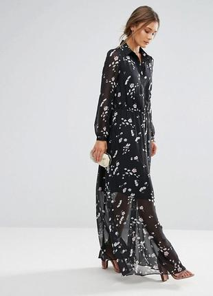 Шифоновое платье макси с цветочным принтом liquorish,р-р 8